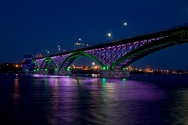 Peace Bridge between Canada and US LED lighting